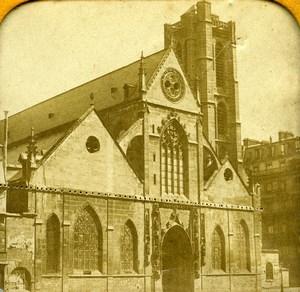 France Paris Church Saint Nicolas des Champs Old Photo Tissue Stereoview 1860