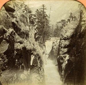 France Pyrenees Cauterets Pont Saint Joseph Old Photo Tissue Stereoview BK 1860