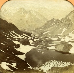 France Pyrenees Glacier Mont Perdu Gavarnie Andrieu Photo Tissue Stereoview 1860