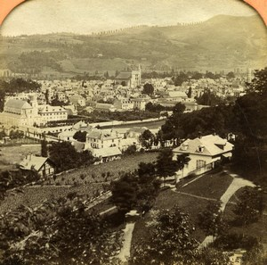 France Pyrenees Bagneres de Bigorre Old Andrieu Photo Tissue Stereoview 1860