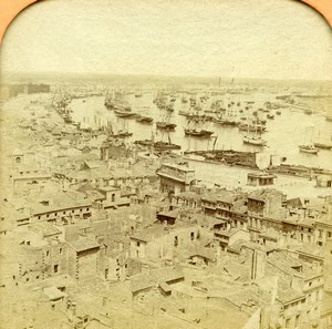 France Bordeaux Harbor Old Andrieu Photo Tissue Stereoview 1860