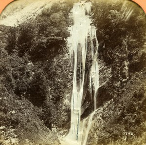 France Pyrenees Eaux-Bonnes Waterfall Old Andrieu Photo Tissue Stereoview 1860