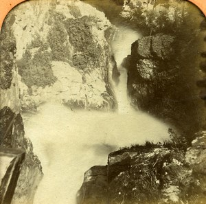 France Pyrenees Luchon Gouffre Infernal Old Photo Tissue Stereoview BK 1860