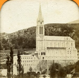 France Pyrenees Lourdes grotto Basilica Old Andrieu Photo Tissue Stereoview 1860
