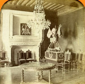France Pyrenees Pau Castle Henri IV Bedroom Andrieu Photo Tissue Stereoview 1860
