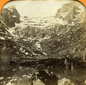 Pyrenees Luchon Lac Saussat Glacier Seil dela Baque Photo Tissue Stereoview 1860
