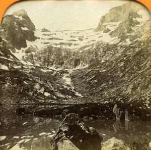 Pyrenees Luchon Lac Saussat Glacier Seil dela Baque Photo Tissue Stereoview 1860