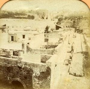 Italy Herculanum ruins panorama Old BK Photo Tissue Stereoview 1865