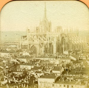 Italy Milano Milan Cathedral panorama Old BK Photo Tissue Stereoview 1865
