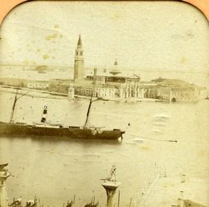Italy Venice San Giorgio & Gondola Pier Old BK Photo Tissue Stereoview 1865