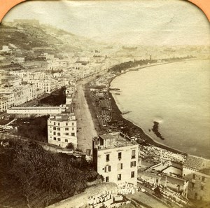 Italy Napoli Panorama General View Old BK Photo Tissue Stereoview 1865