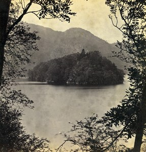 Scotland Ellen's Isle Loch Katrine Old GW Wilson Stereoview Photo 1865