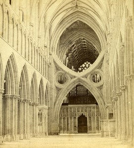 Somerset Wells Cathedral Nave looking East Old GW Wilson Stereoview Photo 1865