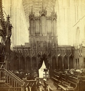 Cambridgeshire Peterborough Cathedral Choir Old GW Wilson Stereoview Photo 1865