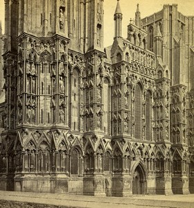 Royaume Uni Somerset Wells Cathedrale façade ouest anciennne Photo Stereo GW Wilson 1865