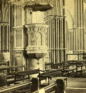 England Worcester Cathedral Stone Pulpit Old GW Wilson Stereoview Photo 1865
