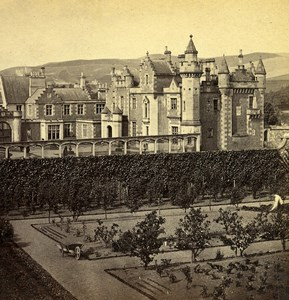 Scotland Abbotsford House Garden Front Old GW Wilson Stereoview Photo 1865