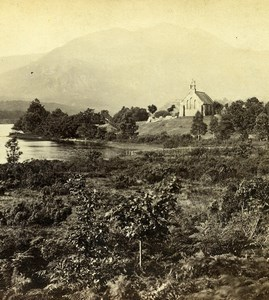 Scotland Loch Achray the Trossachs Church Old GW Wilson Stereoview Photo 1865