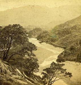 Lake District Lookin up Borrowdale Bowder Stone GW Wilson Stereoview Photo 1865