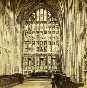 Royaume Uni Gloucester Cathedrale Lady Chapel anciennne Photo Stereo GW Wilson 1865