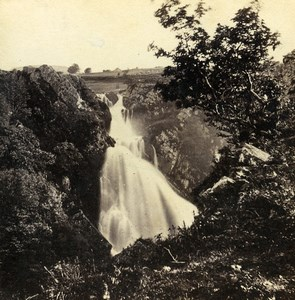 Wales Llanberis Waterfall Ceunant Mawr Old Bedford? Stereoview Photo 1865