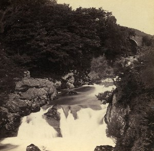 Wales Capel Curig Pont Y Cyffing & Fall Old Bedford? Stereoview Photo 1865