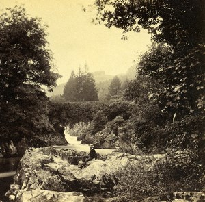 United Kingdom Wales Betws-y-Coed Pont y Pair Old Bedford? Stereoview Photo 1865