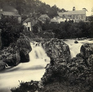 Wales Betws-y-Coed from Pont y Pair Falls Old Bedford? Stereoview Photo 1865