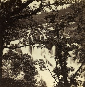 Wales Betws-y-Coed Swallow Falls Old Bedford? Stereoview Photo 1865