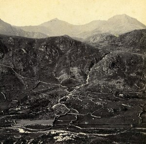 Wales Gwynant Vale Valley Snowdon Old Bedford? Stereoview Photo 1865