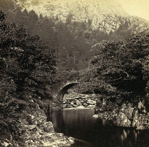 Wales Beddgelert Pont Aberglaslyn Bridge Old Bedford? Stereoview Photo 1865