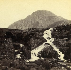 Wales Capel Curig Falls of the Ogwen Old Bedford? Stereoview Photo 1865