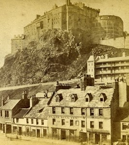Scotland Edinburgh Castle Black Bull Inn Old Burns Stereoview Photo 1865