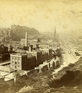 Scotland Edinburgh from Calton Hill Old Archibald Burns Stereoview Photo 1865