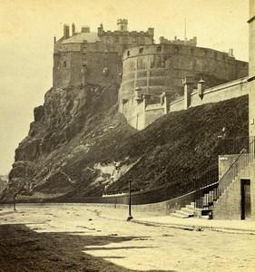 Royaume Uni Ecosse Edimbourg le Chateau anciennne Photo Stereo Archibald Burns 1865