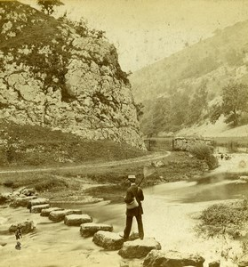 Peak District Dovedale Stepping Stones Old Latham Stereoview Photo 1865