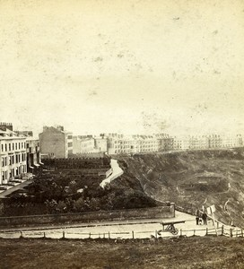Yorkshire Scarborough Crown Terrace north Cliff Old Latham Stereoview Photo 1865