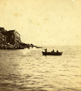England Isle of Portland Sea Fowl shooting Hunting Old Stereoview Photo 1865