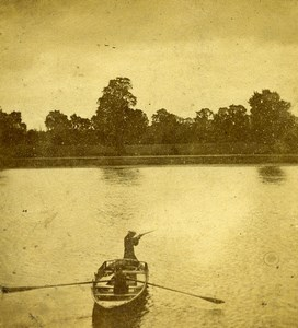 United Kingdom Bird shooting on the river Hunting Old Stereoview Photo 1865