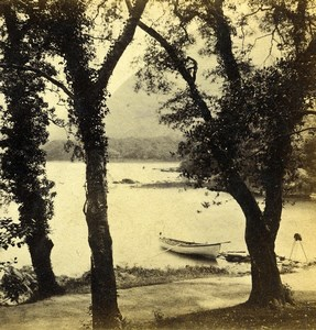 Ireland Landing place Dinis island Middle Lake Petschler Stereoview Photo 1865