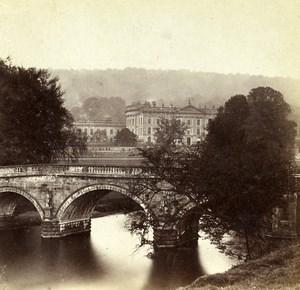 Derbyshire Chatsworth House Bridge Old Petschler Stereoview Photo 1865