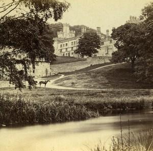 United Kingdom Derbyshire Haddon Hall Old Petschler Stereoview Photo 1865