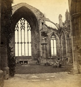 United Kingdom Scotland Melrose Abbey interior Old Gordon Stereoview Photo 1865
