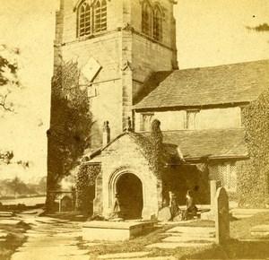 United Kingdom Cheshire Alderley Old Church Old Petschler Stereoview Photo 1865