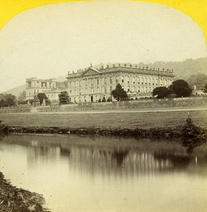 United Kingdom Derbyshire Chatsworth House Old Petschler Stereoview Photo 1865