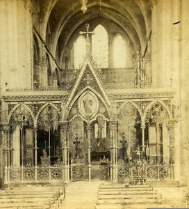 United Kingdom Hereford Cathedral Rood Screen Old Ladmore Stereoview Photo 1865