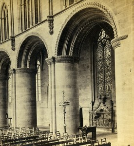 Hereford Cathedral Norman Arches Nave Old Ladmore Stereoview Photo 1865