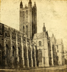 United Kingdom Canterbury Cathedral South Side Old Stereoview Photo 1865