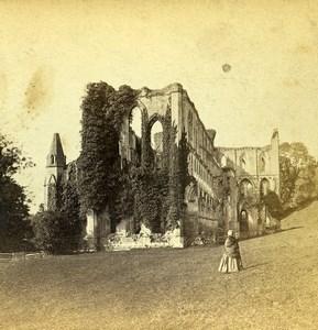 United Kingdom Yorkshire Rievaulx Abbey Old Stereoview Photo 1865