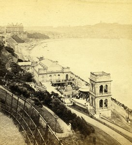 Yorkshire Scarborough Bay South Sands Old George Willis  Stereoview Photo 1870